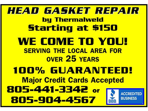 THERMALWELD HEAD GASKET REPAIR Graphite Composite Installed Major Credit Cards OK Fixed or Free F