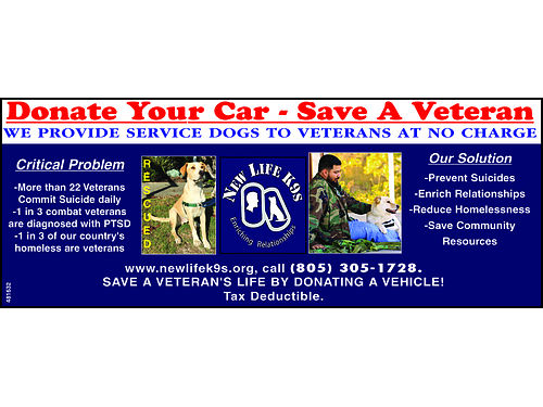 SLO Non-Profit seeks donated carstruckssuvs to raise support for training service dogs to assist V