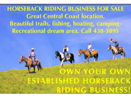 ESTABLISHED HORSE BACK RIDING BIZ FOR SALE Great Central Coast location Beautiful trails fishing