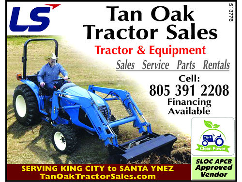 TAN OAK TRACTOR SALES LLC Tractor  Equipment Sales Service Parts Rentals Call 805-237-7788 o