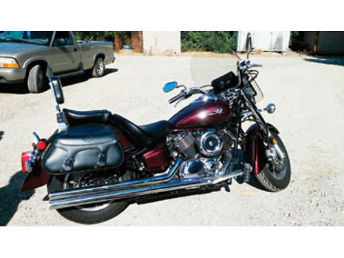 2007 YAMAHA SILVERADO V-STAR 1100 Cherry color windshield backrest dual pipes leather bags new