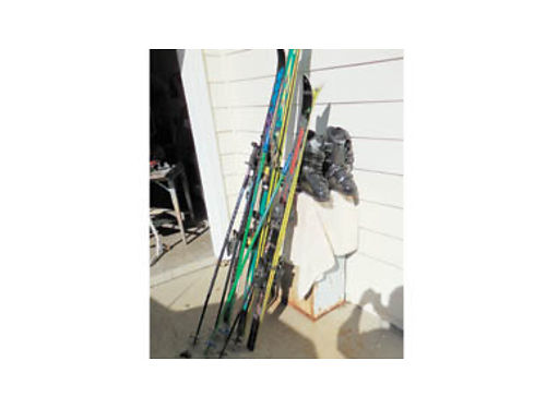 3 SETS OF SKIS  Poles plus 1 near new pair of Rossignol Ski Boots 125 for all David in SLO