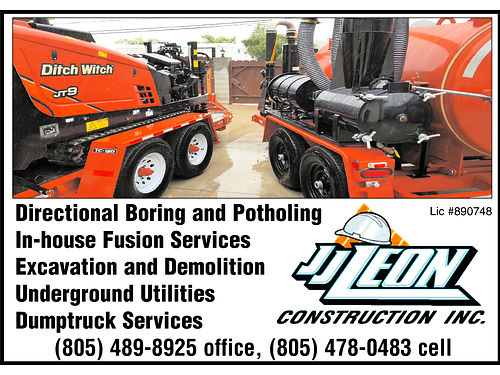JJ Leon Construction Inc Directional Boring and Pothole Services In-house