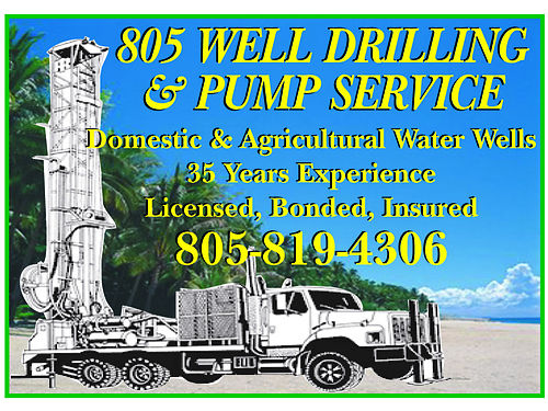 DOMESTIC  AGRICULTURAL Water Wells Short waiting list 35 years experience Licensed Insured Bon