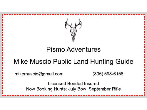 PISMO ADVENTURES Mike Muscio Public Land Hunting Guide mikemusciogmailcom 805