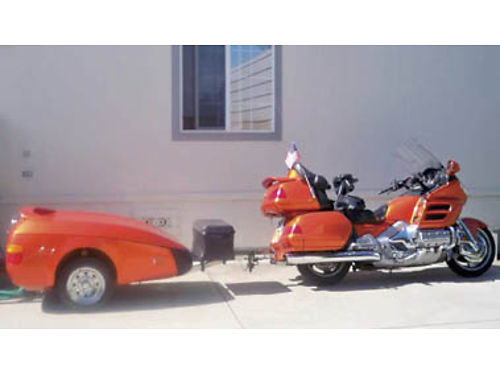 2002 HONDA GOLDWING Pearl orange motorcycle and trailer for sale together recent tune  tires 9