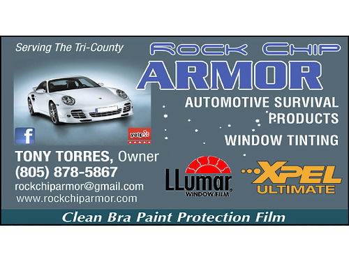 ROCK CHIP ARMOR Serving the Tri-Counties Mobile Service Paint Protection Film Invisible Bra Cer