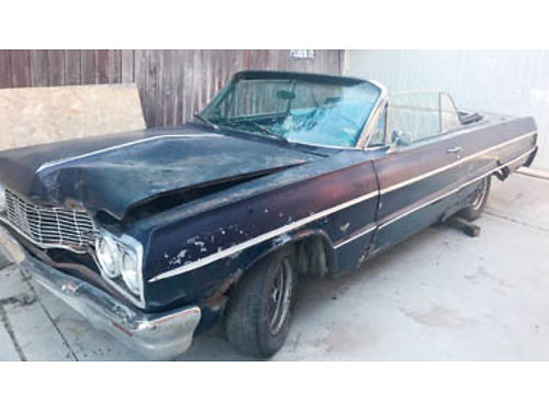 1964 CHEVY IMPALA Convertible Project complete needs full restoration 283 trans runs 87K origin