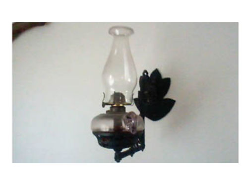 ANTIQUE OIL LAMP like from the movie Peter Pan finger hole for holding cast iron holder for han