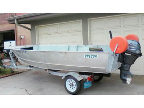 15FT GREGOR with 20HP Yamaha and Shoreline trailer beach wheels list strap oars  locks bilge p