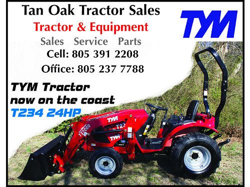 CXL TAN OAK TRACTOR SALES - TYM Tractors now on the Coast T234 24HP- Call