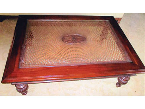 ETHAN ALLEN FURNITURE Cane-top coffee table No 298520-262 500 Pembrook end table No 348404-57
