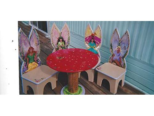 FAIRY HAND CRAFTED and hand painted table and 4 chairs Each chair has front and back views of a han