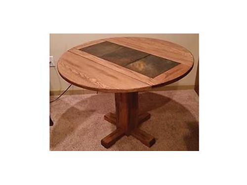 DINING TABLE PEDESTAL drop leaf medium pecanoak color 40 inches round 30 inches high seats 4