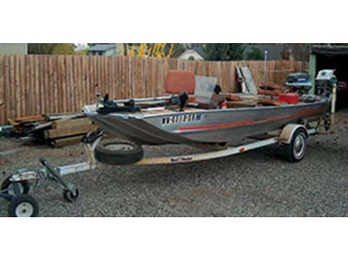 1983 BASS TRACKER 17 55 hp 19 hp both Evinrudes plus 38lb Electric Trolling Motor with trailer l