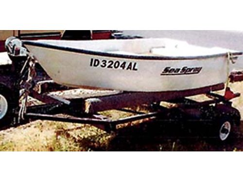 9 FIBERGLASS Sea Spray Dinghy perfect condition 4 wide w oars  anchor trailer has 3 new whee