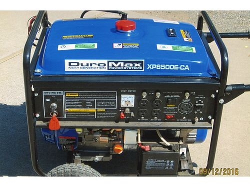 DURO MAX XP8500E-CA less then 2 hours used16hp OHV 419cc 66 US gallon gas 10 hours running tim