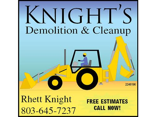 Heavy Equipment Work Lot Clearing Tree Removal Hauling Sprinkler Systems Demolition Grading F