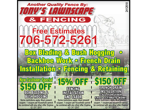 Tonys Lawnscape  Fencing Year-round Lawn Maintenance and Landscaping Free Estimates Over 15yrs