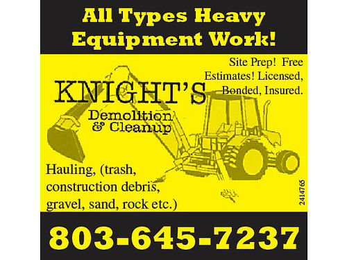 All Types Heavy Equipment Work Lot Clearing Tree Removal Hauling trash construction debris gr