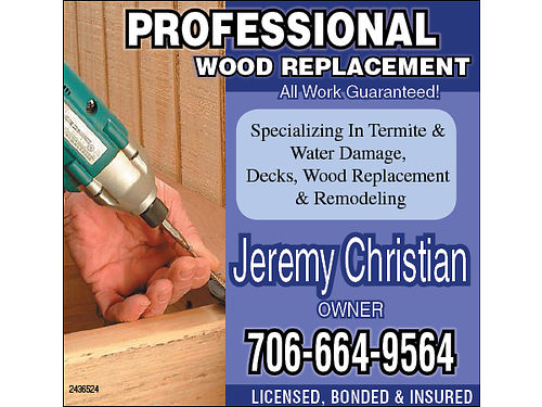 SUMMWER SPECIAL Save Up To 10 Off Professional Wood Replacement Specializing in Termite Damage Rep