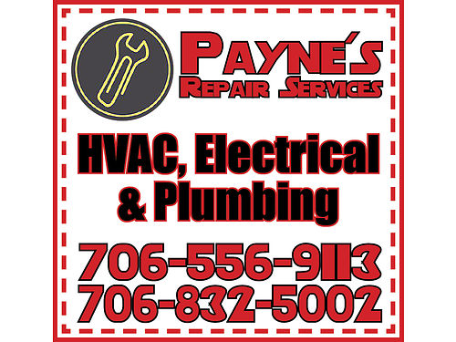 Payne Repair Service specializing in residential HVAC electrical and plumbing repairs Changing or