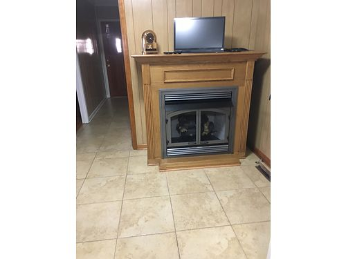 FIREPLACE non vented gas logs beautiful pewter firebox doors  frame sturdy oak cabinet mantel u