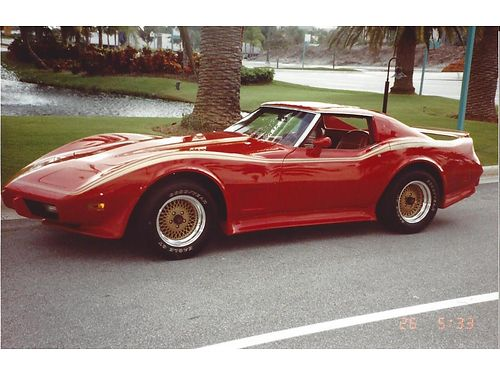1976 CHEVY CORVETTE Stingray red trimmed in gold show car with chrome engine custom paint 4spd m