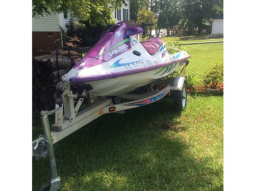 1997 POLARIS Jetski 2 seater white purple  teal with aluminum trailer ramp gc 2200