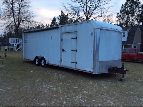 TRAILER enclosed white 2004 28x85x8 carpeted with alarm  tv 4500