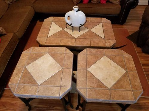 COFFEE TABLE with 2 matching end tables total of 3 all with a nice stone top xc asking 200
