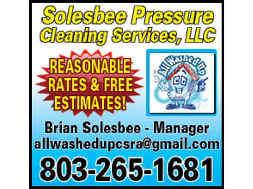 Solesbee Pressure Cleaning Services LLC Free Estimates Licenced and Insured 803-265-1681