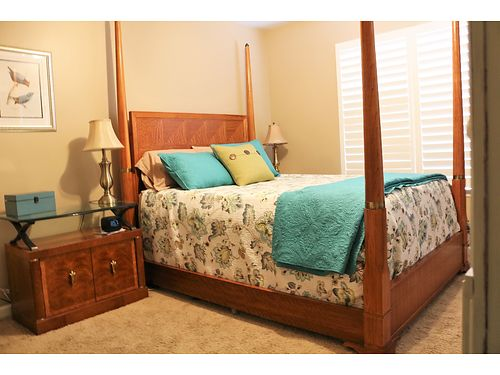 BEDROOM SET queen size frame headboard and foot board night stand included no mattress set Henred