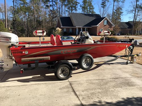 2005 LOWE 180W 18 bass boat all aluminum welded hull johnson 115 2stroke with