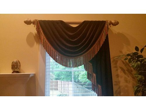 DRAPERIES 4 black lined custom made multi colored fringe attached to rods 2 single window 1