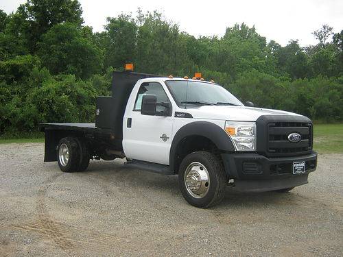 2011 FORD F450 XL 12ft Steel Flat Bed Reg Cab 67 Diesel Auto AC DRWH Tow Pkg Large Cross T