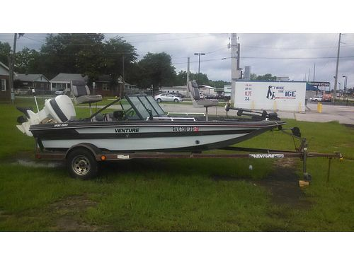 1987 VENTURE BASS BOAT 16 trolling motor 2 fishfinders 2 live wells 90hp johnson with trailer