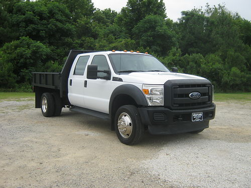 2012 FORD F350 XL Crew Cab 9ft Steel Flatbed with Side Panels Dual Rear Wheels Tow Pkg Built to
