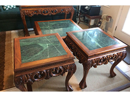 LIVINGROOM TABLES 4pc 2 end tables coffee table and sofa table solid wood with green marble top