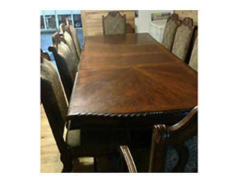 DINING table mahogany 9 with 2 leaves 10 upholstered highback chairs very heavy 5000 new 250