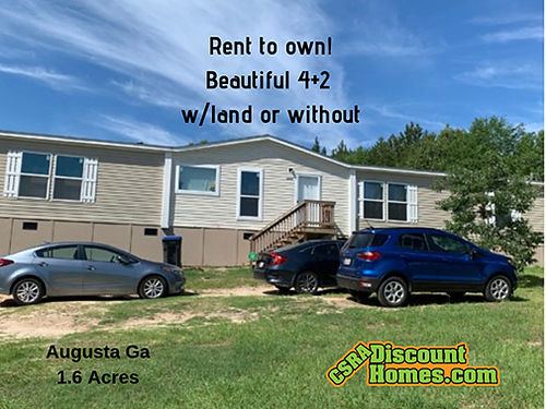Rent to Own Augusta Ga Beautiful Like New 42 wLand 28x80 Appliances Central AC Shed 110113