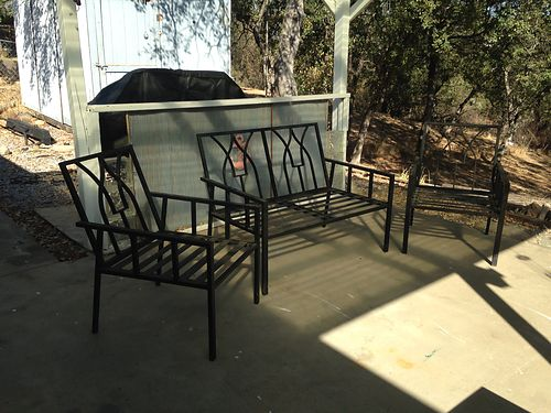 PATIO furniture no cushions black love seat and two chairs 100 530-339-1377