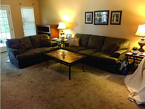 SOFA and Love Seat - Ashley 7ft sofa and 5ft love seat Dark olive Green Suede