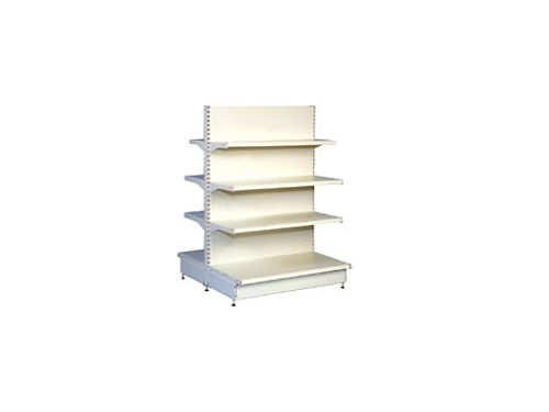 GONDOLA SHELVING 7 4 X 4 wide 4 shelves adjust legs for height and 4 8 x 3 in covered in
