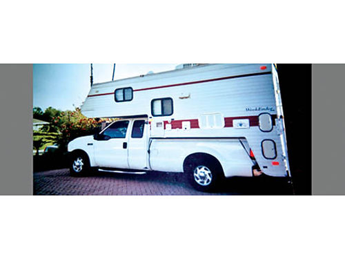 2001 FORD F250 EXT CAB Triton V10 with Weekender Cabover Camper sleeps 5-6 stove micro frig S