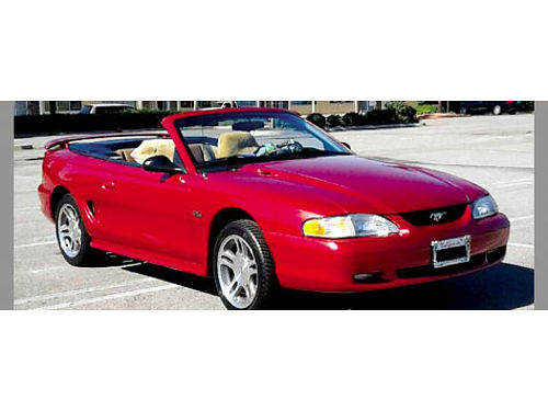 1997 FORD MUSTANG GT conv laser red clr 46 V8 eng auto trans beaut loaded 90K miles car is b