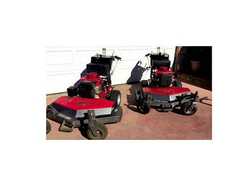 2 HONDA 52 COMMERCIAL MOWERS Both 18-Hp Gas Pull Start Hydro Dr 3-Blades With Mulch Kits Instal