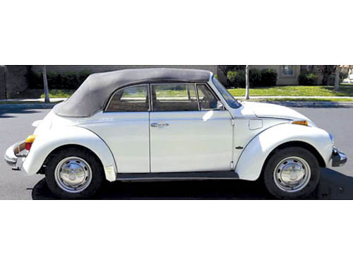 1977 VW BEETLE CONVT Bug Karman 2 dr 4 spd manual 16L amfm radio classic whiteblk clean ti
