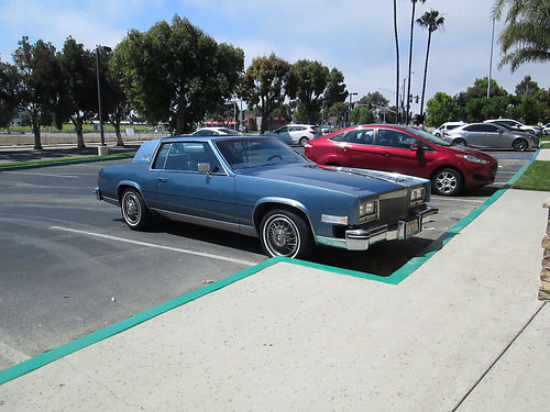 1985 CADILLAC EL DORADO 2 dr classic blue with vinyl top runs good 2nd owner passed smog reg t