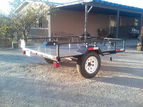 2012 FLATBED TRAILER 7 ft long x 6 12 wide 5 lug w2057514 tires new jack has leafsprings li